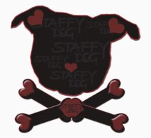Staffy Dogs Head-Shape and Crossbones of Love by StaffyDognCo