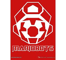 Mariobots! (White Outline on Red) Photographic Print