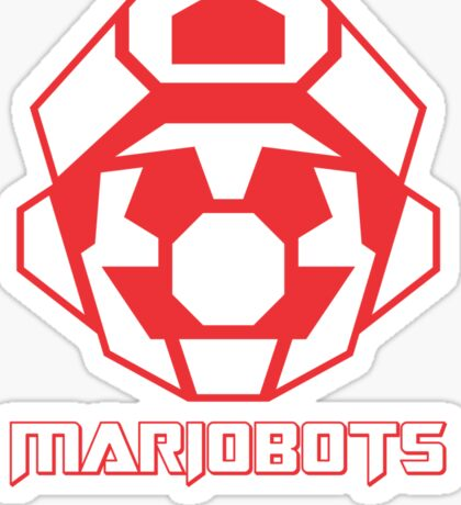 Mariobots! (Red Outline on White) Sticker