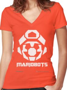 Mariobots! [White (on red)] Women's Fitted V-Neck T-Shirt