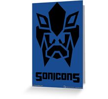 Sonicons! (Black on Blue) Greeting Card