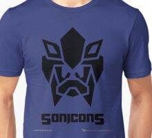 Sonicons! (Black on Blue) Unisex T-Shirt