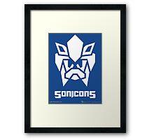 Sonicons! (White on Blue) Framed Print