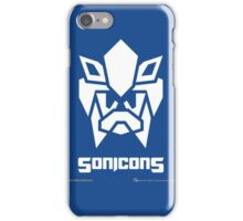 Sonicons! (White on Blue) iPhone Case/Skin