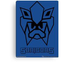 Sonicons! (Black Outline on Blue) Canvas Print
