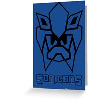 Sonicons! (Black Outline on Blue) Greeting Card