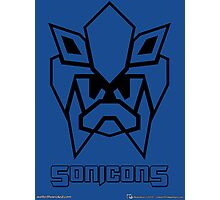 Sonicons! (Black Outline on Blue) Photographic Print