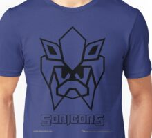 Sonicons! (Black Outline on Blue) Unisex T-Shirt