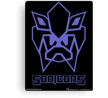 Sonicons! (Blue Outline on Black) Canvas Print