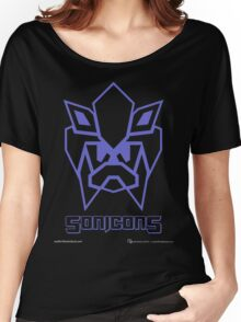 Sonicons! (Blue Outline on Black) Women's Relaxed Fit T-Shirt