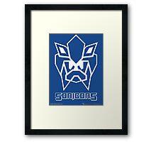 Sonicons! (White Outline on Blue) Framed Print