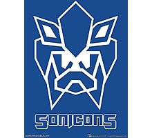 Sonicons! (White Outline on Blue) Photographic Print