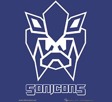 Sonicons! (White Outline on Blue) Unisex T-Shirt