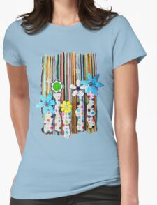 Cut n Paste Flowers Womens Fitted T-Shirt