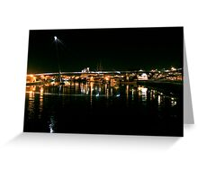Stockton Riverside at Night. Greeting Card