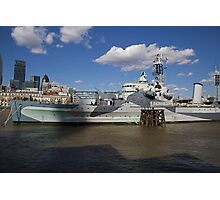 HMS Belfast on the River Thames Photographic Print