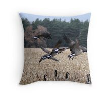 Geese in Flight. Throw Pillow