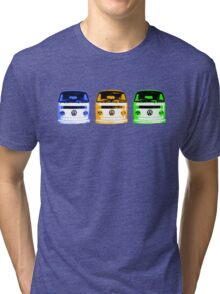 VW Kombi Shirt - Blue Orange Green Tri-blend T-Shirt
