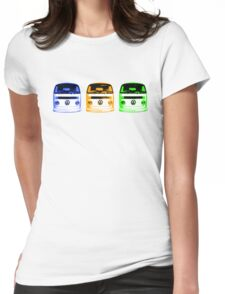 VW Kombi Shirt - Blue Orange Green Womens Fitted T-Shirt