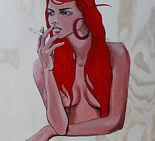 Smoking Girl Acrylic Painting on Wood 2015 by missdarq