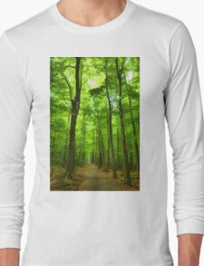 Green Light Harmony - Walking Through The Summer Forest Long Sleeve T-Shirt