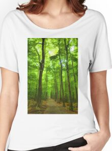 Green Light Harmony - Walking Through The Summer Forest Women's Relaxed Fit T-Shirt