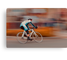 A Lone Cyclist Heads into the Final Lap Canvas Print