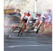 Group of Cyclists Head into the Final Lap Photographic Print