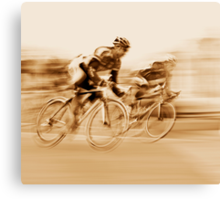Two Cyclists Battling for the Lead - Sepia Tones Canvas Print