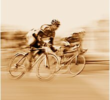 Two Cyclists Battling for the Lead - Sepia Tones Photographic Print