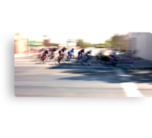 Women cyclists Racing into the Turn Canvas Print