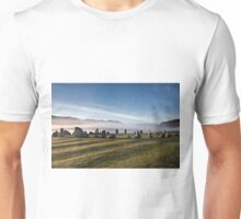 Early morning mist behind Castlerigg Stone Circle Unisex T-Shirt