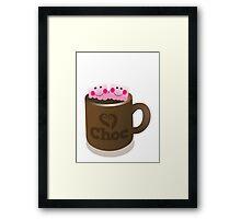 Hot Chocolate with seriously cutie Kawaii marshamallows Framed Print