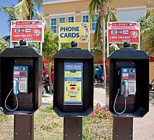 Phone boxes in Antigua by Keith Larby