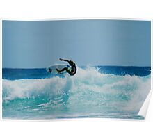 Surfing at snapper rock QLD Poster