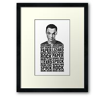 Sheldon, Rock Scissors Paper Lizard Spock Framed Print