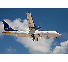 Liat the Caribbean airline over Maho Beach in St Maarten Photographic Print