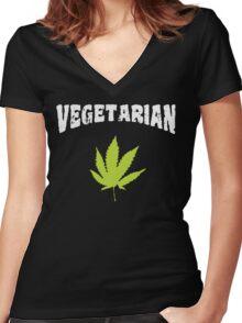 Vegetarian Women's Fitted V-Neck T-Shirt