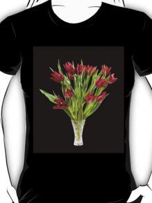 cut tulips bouquet in glass vase T-Shirt