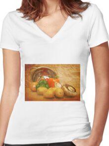 Cascading Vegetables Women's Fitted V-Neck T-Shirt