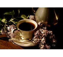 Coffee and Lilacs in the Morning Photographic Print