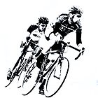 Black & White Cyclists into the Turn by Buckwhite