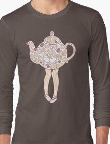 Teapot Girl - purple Long Sleeve T-Shirt