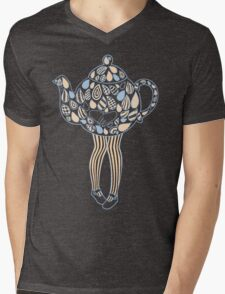 Teapot Girl - blue Mens V-Neck T-Shirt