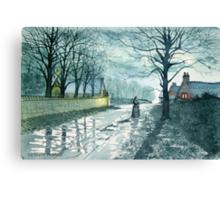 Church Lane by Moonlight Canvas Print