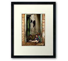 Sister with Brother and Grandmother Framed Print