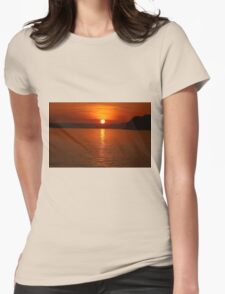 Ruby Sunset Coastal View Womens Fitted T-Shirt