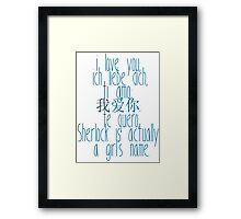 how to say i love you (johnlock) Framed Print