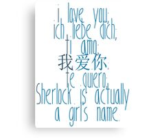 how to say i love you (johnlock) Canvas Print