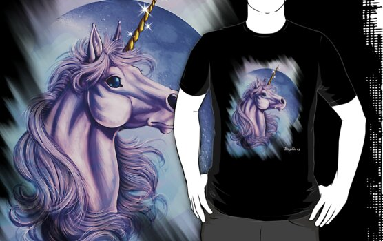 Unicorn Fantasy T Shirt by cybercat